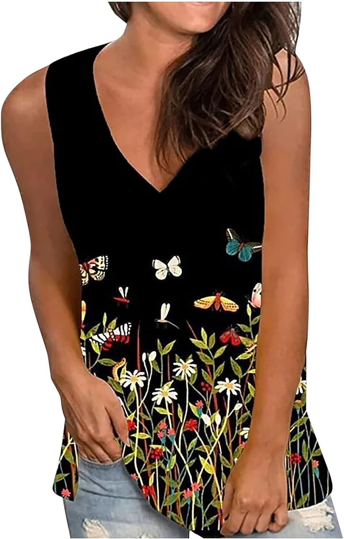 5665 Womens Tank Tops Sleeveless Scoop Neck Summer Fashion Casual V-neck Sleeveless Tie dye Printed Vest Tops