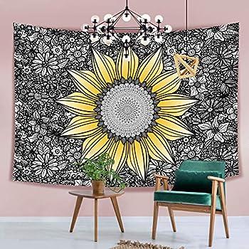 Hexagram Sunflower Tapestry Bohemian Mandala Flowers Tapestry Wall Hanging Yellow Wall Tapestry Home Decor 51 x 59 Inches