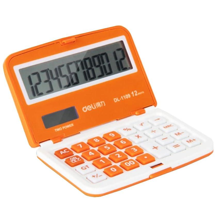蜜行商人キャリッジ折りたたみ式ミニポケット電卓ソーラー電源関数電卓オレンジ