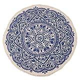 KTDT Marokko Runder Teppich Schlafzimmer Boho Style Quaste Baumwollteppich Handgewebt National...