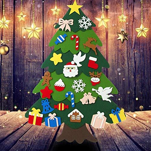 Blue-Yan 25pcs DIY Fieltro Árbol de Navidad Puzzle Collage Decoración de la Pared, Árbol de Navidad Decoración para niños, Decoración de la Pared de la Puerta del hogar Desmontable (A)