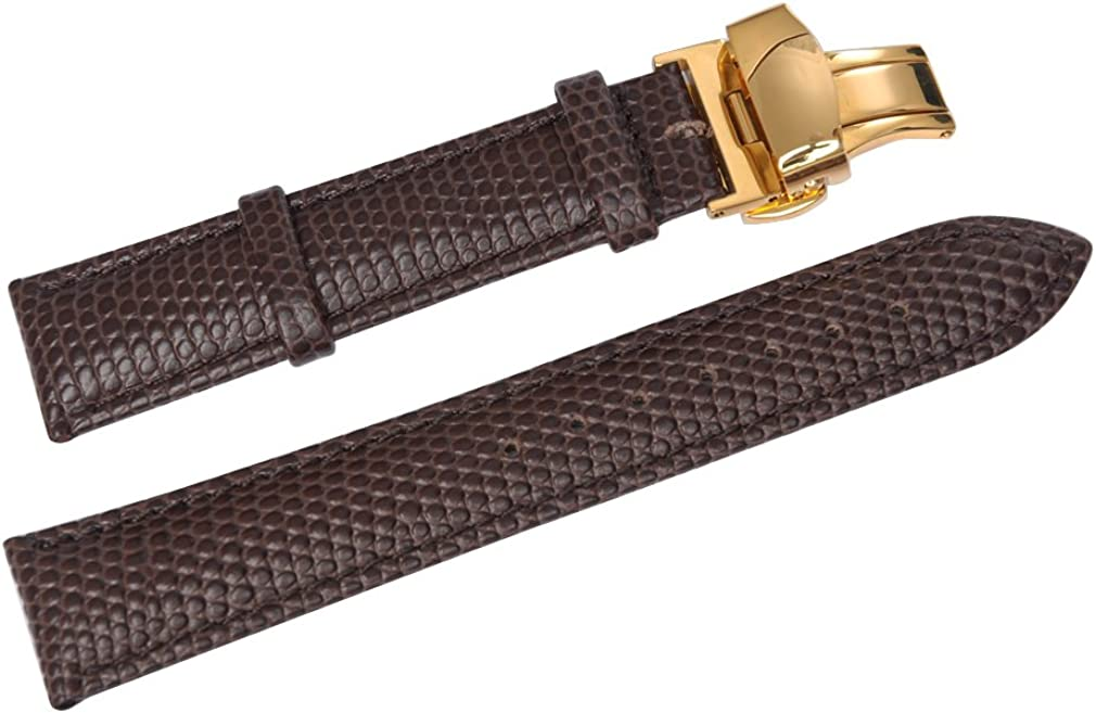 Super sale period limited Uyoung 18mm Men's Brown Genuine Golden Grain Push Leather Large special price Lizard