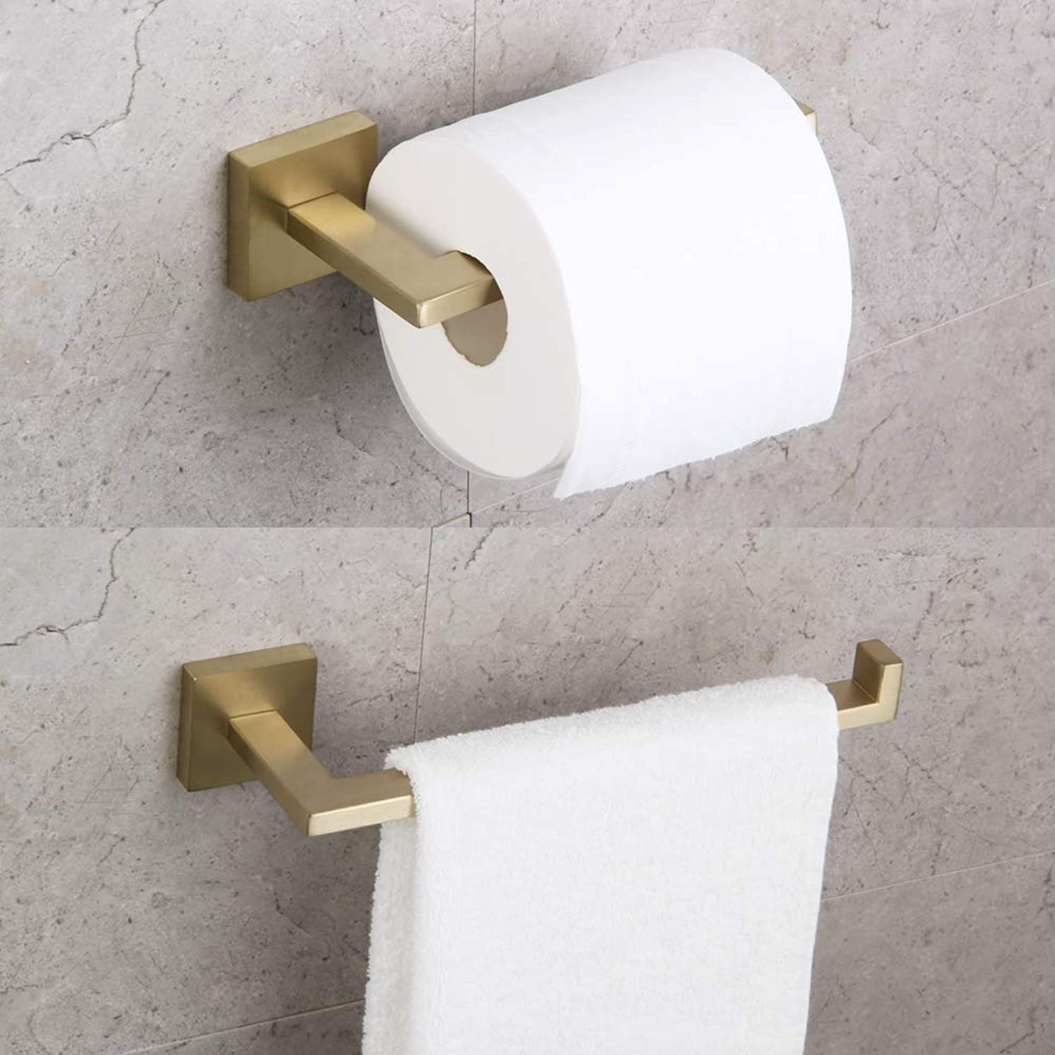 Bathroom 2-Piece Hardware Set Toilet Paper Holder and Towel Ring Wall Mounted Brushed PVD Zirconium Gold Finish
