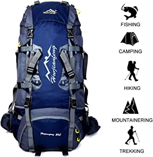 80 L Internal Frame Backpack Outdoor Waterproof Backpack Climbing Fishing Rucksack Hiking Daypack Camping Outdoor Trekking Mountaineering Bag with a Rain Cover