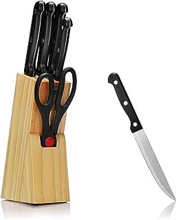 com-four® Juego de Bloques de Cuchillos de 7 Piezas con Varios Cuchillos y Tijeras - Almacenamiento de Cuchillos de Madera (Set 5-7 Piezas - Bloque de Cuchillos)