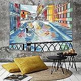 Yaoni Tapestry Pared paño Mantel Toalla de Playa,Venecia, Colorido boceto de un Paisaje del Puente...