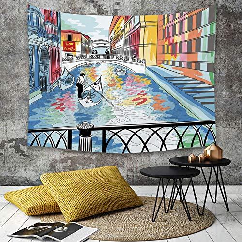 Yaoni Tapestry Pared paño Mantel Toalla de Playa,Venecia, Colorido boceto de un Paisaje del Puente de los Suspiros en Venecia Escena artí,Decoraciones para el hogar para la Sala de Estar Dormitorio