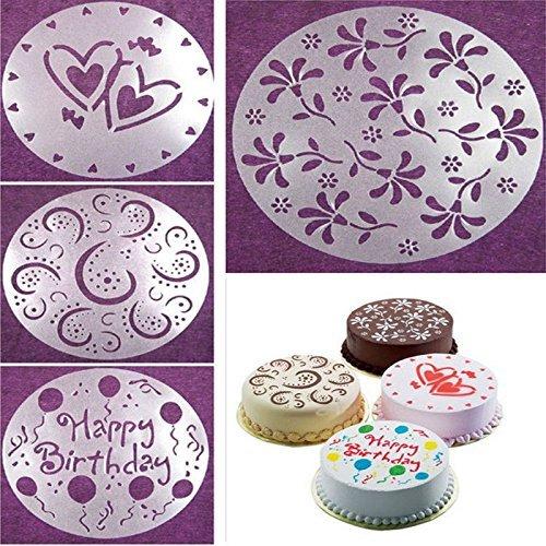 ZGJ AFFE 4 pcs/Set Fondant Gâteau Pochoir sculpté Impression Patterns Moule Happy Birthday Cake Moule à gâteau Spray