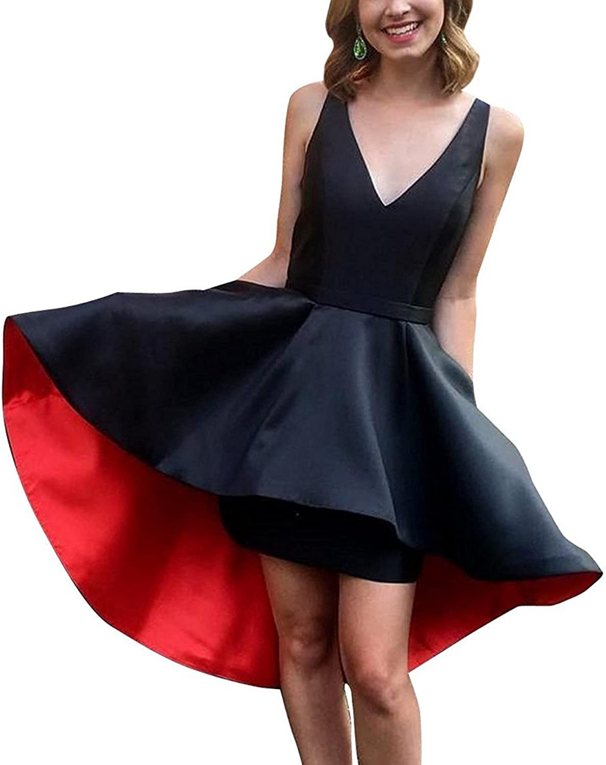 Homecoming Dress Satin VNeck Short ALine Prom Gown with Pocket Simple Prom Dress