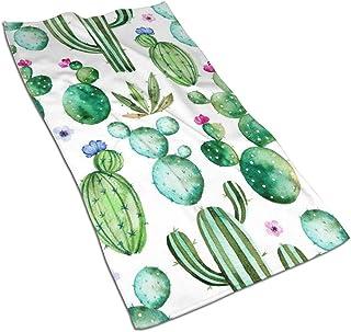 Watercolor Green Cactus Pink Flowers Hand Towels Bathroom Soft Tropical Plants Bath Towel Absorbent Kitchen Dish Towel Home Decor 27.5'' X 15.7''