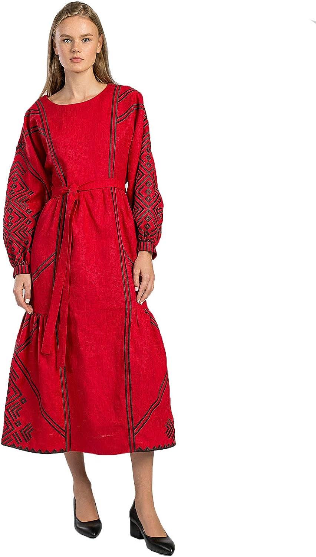 ETNODIM Embroidered Linen Ukrainian Dress Vyshyvanka Ethnic Long Sleeve Red Long Dress AKAI