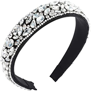 AWAYTR Velvet Padded Rhinestone Baroque Headband - Large Padded Cloth Races Goth Wedding Headpiece for Women