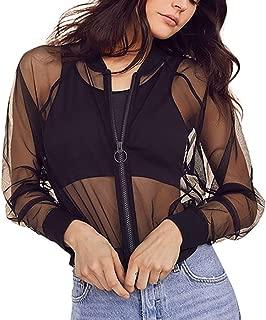 C.C-US Women's See Through Mesh Bomber Jacket Sexy Mesh Sheer Zip up Long Sleeve Coat Top