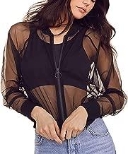 Women's See Through Mesh Bomber Jacket Sexy Mesh Sheer Zip up Long Sleeve Coat Top