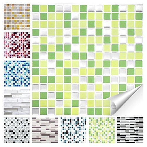Wandora 1 Stück Fliesenaufkleber 25,3 x 25,3 cm hellgrün grün Silber Design 27 I 3D Mosaik Fliesenfolie Küche Bad Aufkleber W1536
