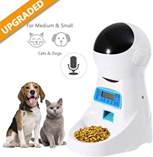 Automatic Cat Feeder Pet Food Dispenser Feeder Medium Large Cat Dog——4 Meal,  Voice Recorder Timer Programmable, Portion Control