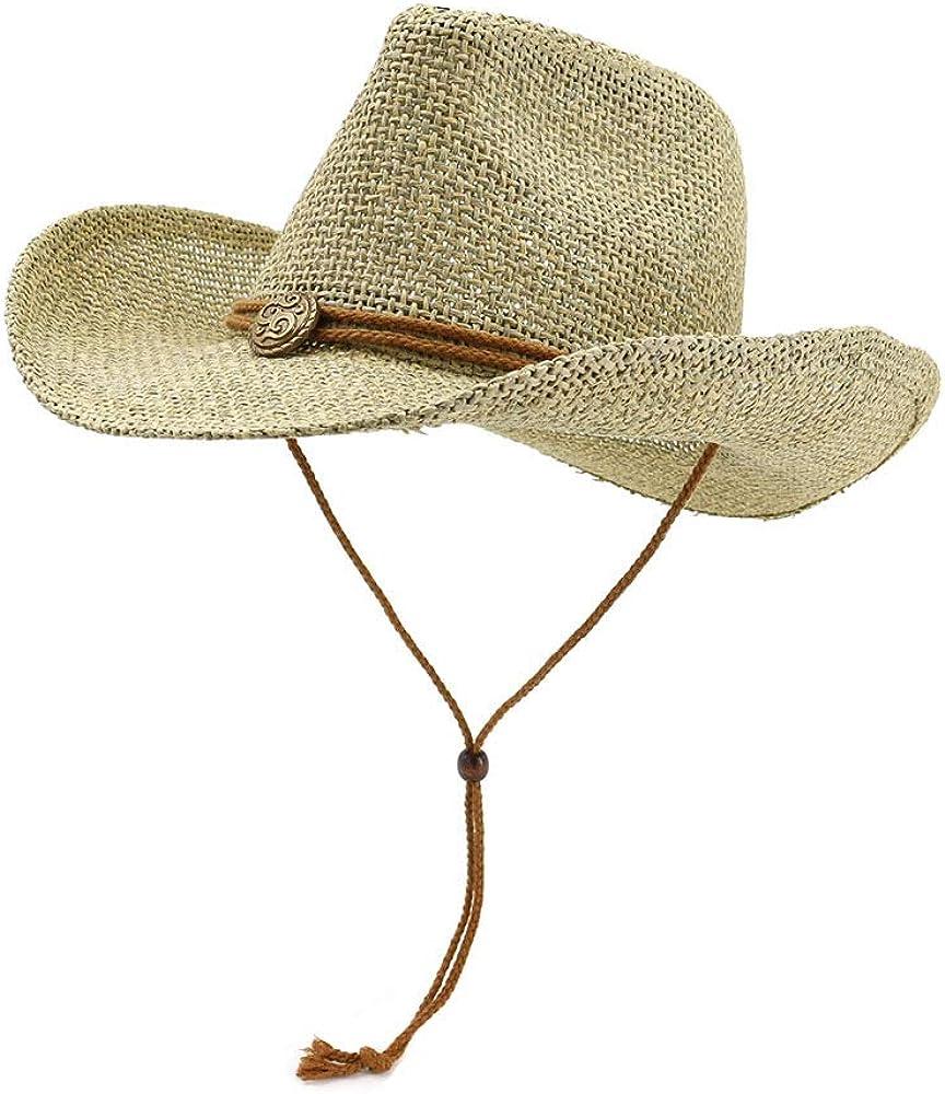ADAHOP Womens Wide Brim Sun Hat with Wind Lanyard UPF Summer Mesh Straw Sun Hats for Women