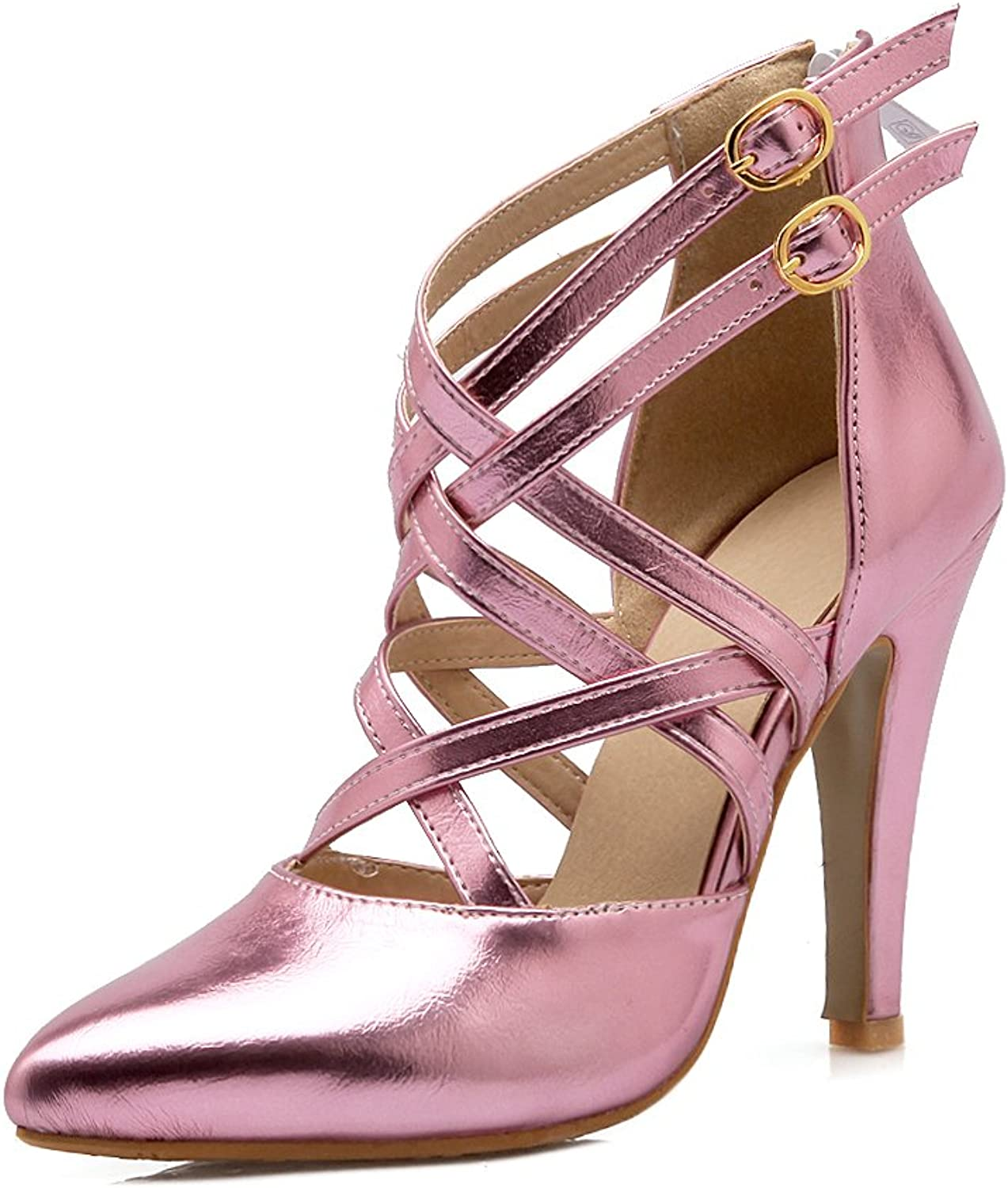 AIWEIYi Womens Pointed toe Cut-outs High Heel Sandals Pink