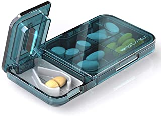 Pill Cutter and Splitter, Cutter Medicine Storage Compartment Box for Hold Tablets and Cutting Pills in Half (Blue)
