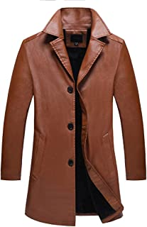 wuliLINL Men's Trench Coat Faux Leather Long Leather Jacket Casual Overcoat
