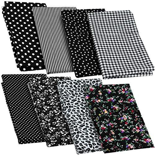 8 x Patchwork Stoffe aus Baumwolle, 50 x 50 cm, Verschiedene Motive, Farbe: schwarz