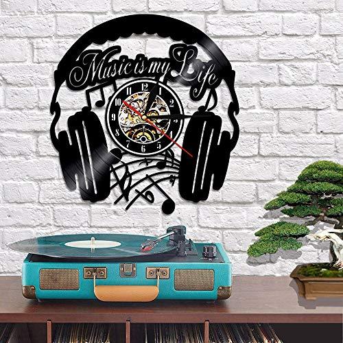 Rgzqrq Auriculares Silueta Disco de Vinilo Reloj de Pared la música es la música de mi Vida Reloj de Pared Tema Reloj para Auriculares diseño Moderno decoración del hogar (30x30cm)