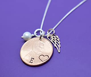 Personalized Penny Memorial Necklace, Remembrance, Angel Wing, Guardian Angel, Delicate Jewelry, Tiny Charm Pendant Necklace - sterling, rose gold with pearl