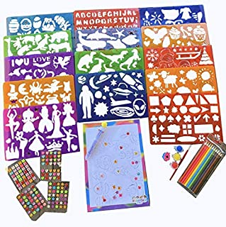 Drawing Stencils kit case - Kids Art Crafts Supplies Sets - Kid Plastic Stencil Coloring Art case Set Kits - Girls & Boys Artist Project with Figures & Shapes use on Travel in Plane/car