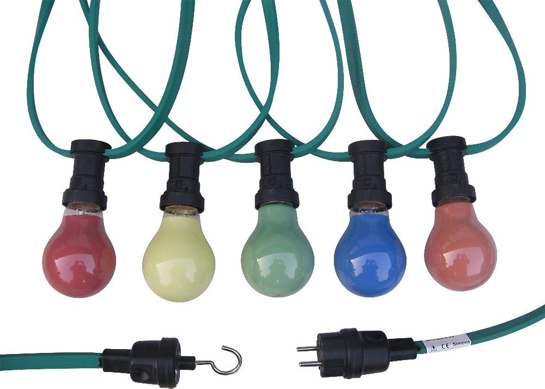 Illu-Lichterkette 50m 50 Fassungen E27 inkl. farbiger Glühlampen (rot, gelb, grün, blau und Orange)