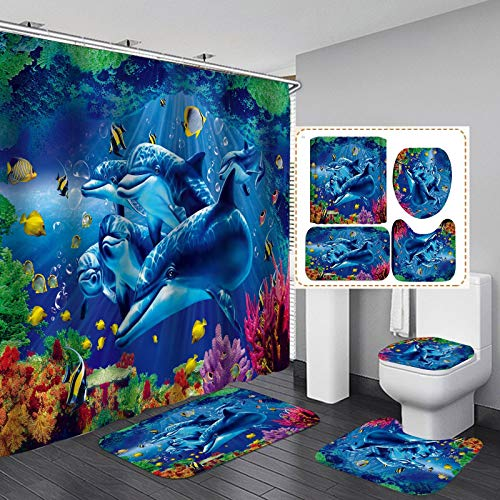 H-ENY 4 Teile/Satz Delphin Duschvorhang wasserdichter Stoff Tuch Badvorhang, rutschfeste Badezimmer Teppiche Badematten WC-Teppich, fabelhafter Delphin
