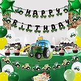 Decoración De Fiesta Juego De Decoración De Fiesta Temática De Coche De Dibujos Animados De 13 Piezas, Banner De Coche De Feliz Cumpleaños, Decoración Para Tarta De Tractor, Suministros Para Fiestas