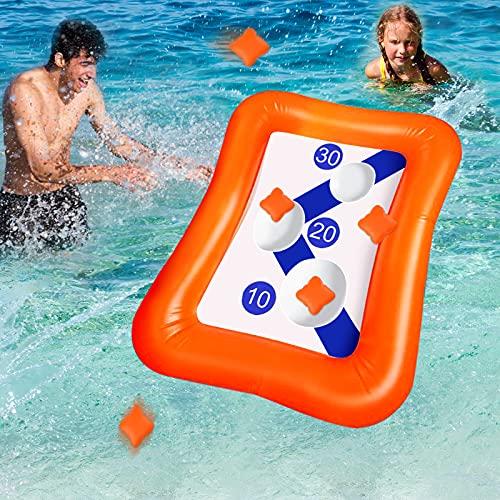 Chnaivy 36 Zoll aufblasbare Target Toss Swimming Pool Wurfspiel Floating Cornhole Board Set mit 5 Sitzsäcken für Kinder Erwachsene Sommer Outdoor Pool Party Wasser Karneval Strandspielzeug