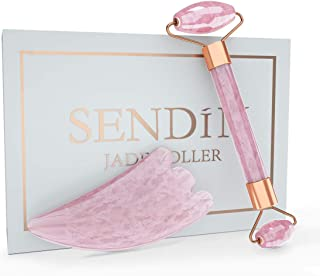 Jade Roller,SENDIN Face Roller(New Updated)Massager Set Including Rose Quartz Roller and Gua Sha Scraping Tool For Face,Neck,Cheekbone,Design For Gift