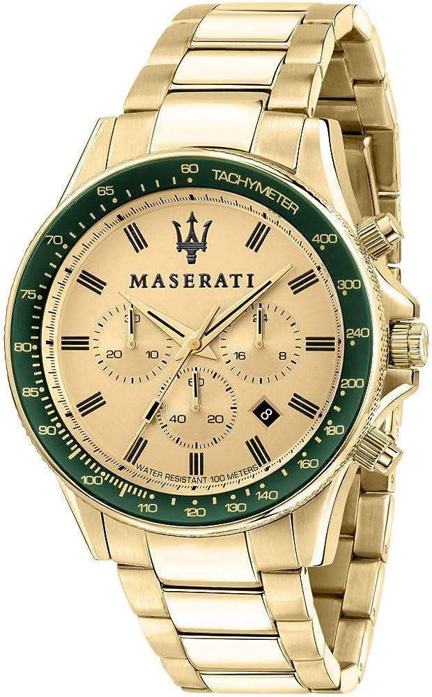 Maserati collezione sfida  orologio cronografo da uomo in acciaio inossidabile e pvd oro giallo 8033288894780