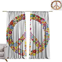 Groovy Heat Insulation Curtain Floral Peace Sign Summer Spring Blooms Love Happiness Themed Illustration Print for Living Room or Bedroom W52 x L54 Inch Multicolor