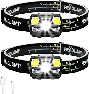 2Pack LED Headlamp Flashlight, Rechargeable LED Headlights, Super-Bright Waterproof Head Torch with Red Light and Motion S...