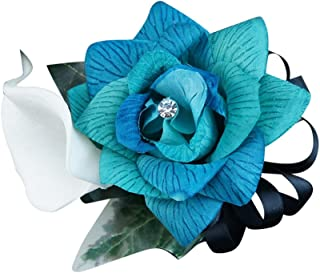 Angel Isabella Wrist Corsage - 3 Shades of Rose in Turquoise, Jade, Aqua, White Calla Lily