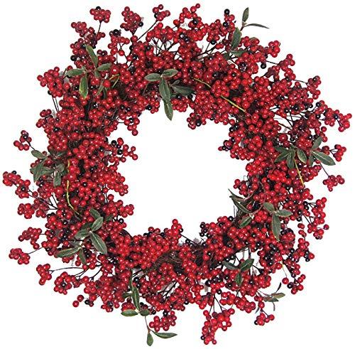 Daliuing Christmas Wreath red Fruit Wreath Outer Diameter 55cm Garland Flower Leaf Rattan Fairy String Artificial Encrypt Garlands Christmas Garland Artificial Flowers