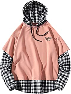 Men Fake Two-Piece Plaid Print Hooded Sweatshirt Splicing Pullover Long Sleeve Tops