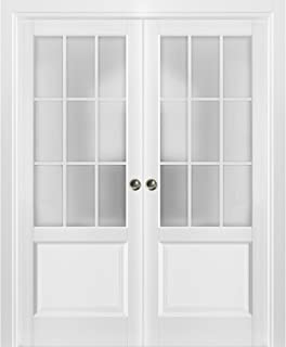 Sliding French Double Pocket Doors 72 x 84 inches Frosted Glass 9 Lites| Felicia 3309 Matte White | Kit Trims Rail Hardware | Solid Wood Interior Bedroom Sturdy Doors