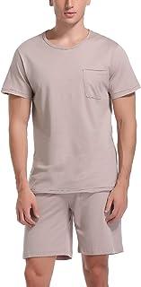 Pijamas Hombre Verano Corto de 100% Algodón Conjuntos de Pijamas para Hombre Mangas Cortas