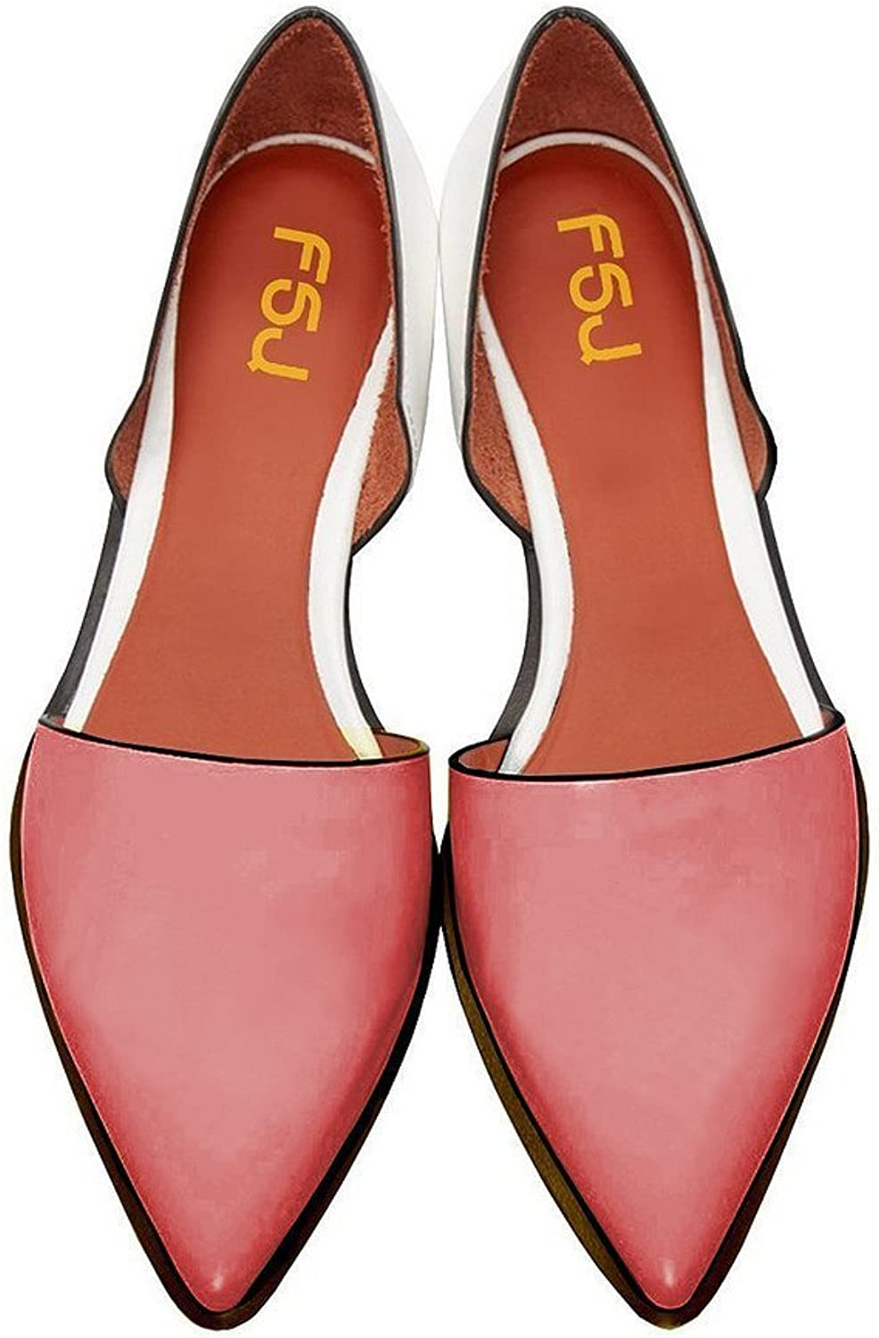 FSJ Fashion Pointed Toe shoes Patent Leather Slip-on Flats Easy-walking Plus Size