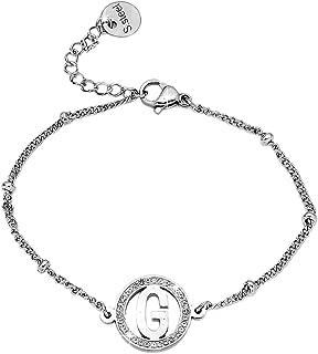 bracciale iniziale Braccialetto donna con cristalli in acciaio lettera G