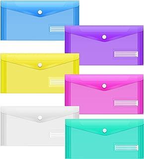 Sooez 24Pack Plastic Pencil Pouch, Clear Poly Envelopes File Bag Bill Bag Pencil Case with Label Pocket, Plastic Pencil Ca...