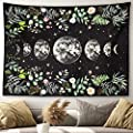 "Moonlit Garden Tapestry Moon Phases Surrounded by Vines and Flowers Black Wall Hanging Floral Luna Night Sky Moon Eclipse Universe Galaxy Starry Night Lunar Phases Wall Decor Tapestry (36""x48"")"
