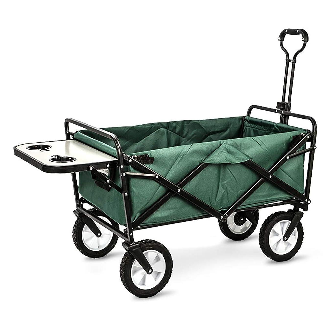 報復するソケット要求折りたたみビーチワゴン 収穫台車?キャリー 折りたたみ式ガーデントロリーカート 多機能ヘビーデューティーワゴン ために アウトドア キャンプ ピクニック 釣り ショッピングカート テーブルボードを使用すると、 積載量:80kg (Color : Dark green)