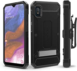 Evocel Galaxy A10E Case Explorer Series Pro with Glass Screen Protector and Belt Clip Holster for The Samsung Galaxy A10E, Black