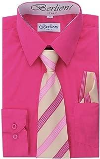 Berlioni Boys Long Sleeve Dress Shirts Tie & Hanky Many Colors