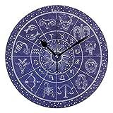 landianguangga Vintage Navy Blue Dreams Round Acrylic Wall Clock, Silent Non Ticking Oil