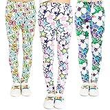 Adorel Leggings Estampado Pantalón Stretch para Niña 3 Pack Floral y Mariposa y Estrella (Dibujo...